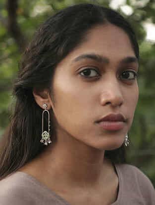 Tribal Silver Long Dibbi Earrings
