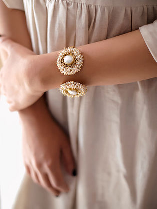 White Gold Plated Handcrafted Cuff With Pearls
