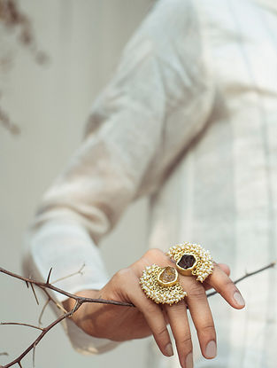 Purple Yellow Gold Plated Handcrafted Adjustable Ring With Pearls Topaz And Citrine