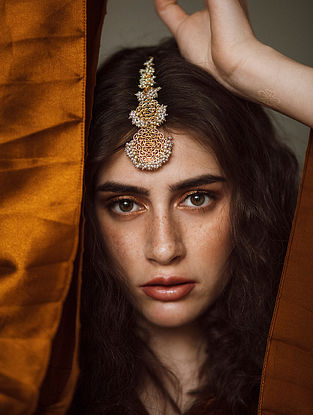 Gold Plated Handcrafted Maangtikka With Pearls