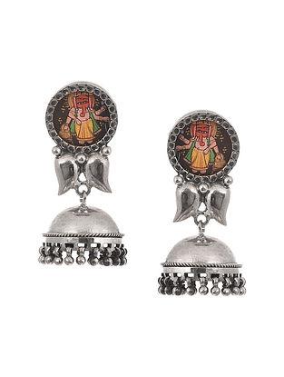 Handpainted Tribal Silver Earrings