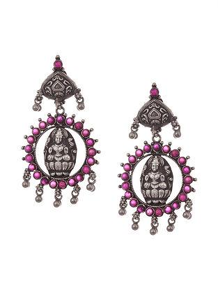 Purple Tribal Silver Earrings