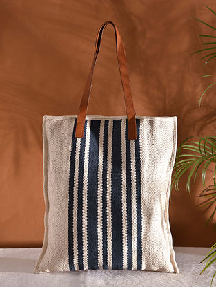 Off White Black Handcrafted Jacquard Tote Bag