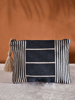Black Off White Handcrafted Jacquard Pouch