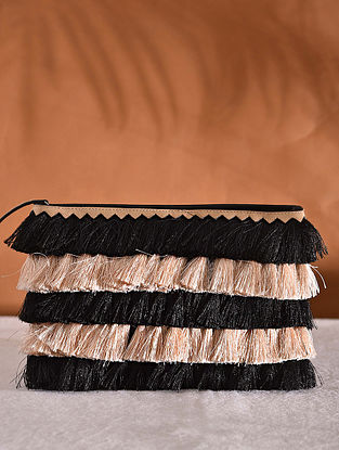 Black Off White Handcrafted Woven Pouch