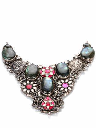 Tribal Silver Kundan Necklace with Labradorite