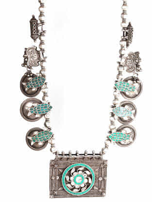 Tribal Silver Kundan Necklace with Turquoise