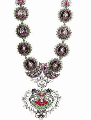 Green Tribal Silver Kundan Necklace with Talap