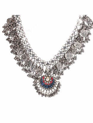 Tribal Silver Kundan Necklace with Iolite