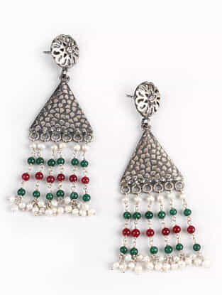 Red Green Tribal Silver Earrings with Pearls