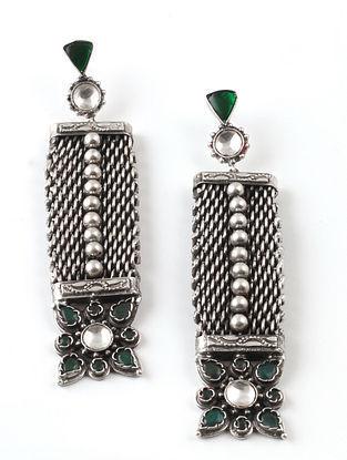 Tribal Silver Kundan Earrings with Emerald