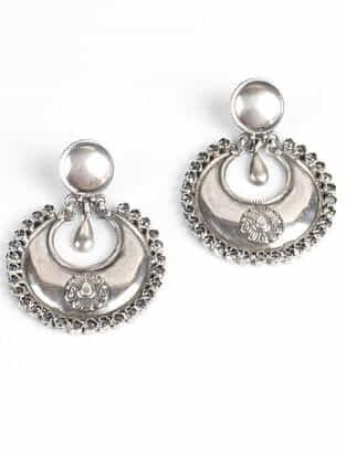 Tribal Silver Studded Earrings