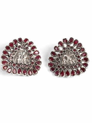 Tribal Silver Earrings with Ruby