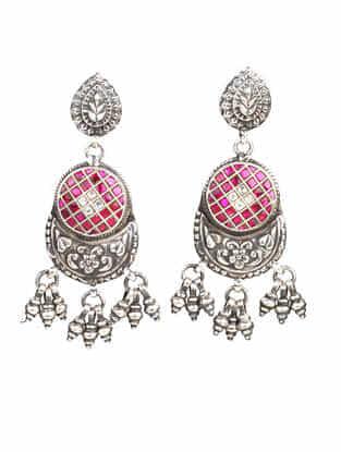 Pink Tribal Silver Kundan Earrings