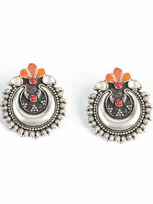 Tribal Silver Kundan Earrings with Coral