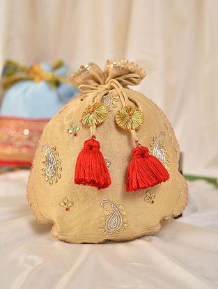 Beige Handcrafted Silk Potli