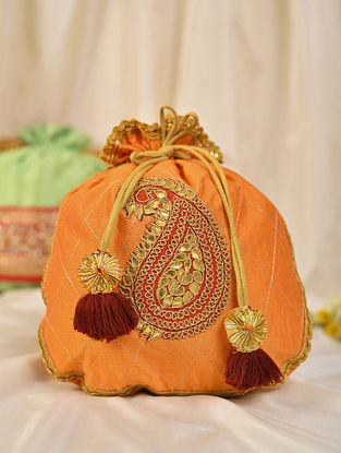 Orange Handcrafted Silk Potli