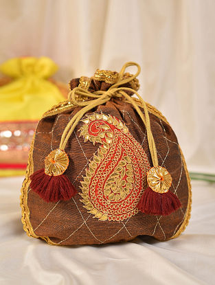 Brown Handcrafted Silk Potli