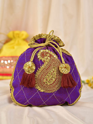 Purple Handcrafted Silk Potli