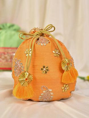 Orange Handcrafted Silk Potli
