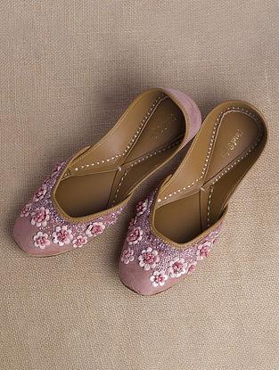 Pink Handcrafted Suede Juttis