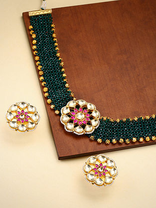 Green Pink Gold Tone Kundan Beaded Choker Necklace With Earrings