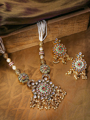 Green Pink Gold Tone Kundan Enameled Necklace With Earrings
