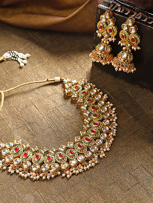 Pink Gold Tone Kundan Necklace With Jhumki Earrings