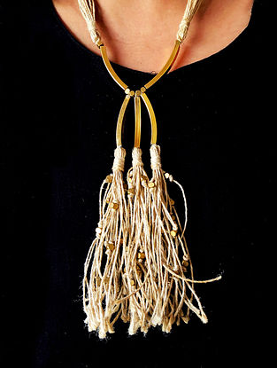 Cream Gold Tone Handcrafted Jute Necklace