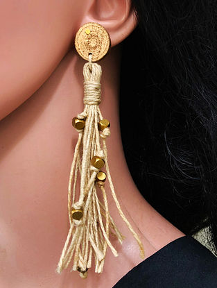 Cream Gold Tone Handcrafted Jute Earrings