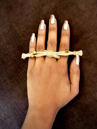 Cream Gold Tone Handcrafted Jute Adjustable Ring