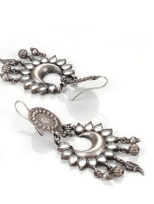 White Tribal Silver Glass Earrings
