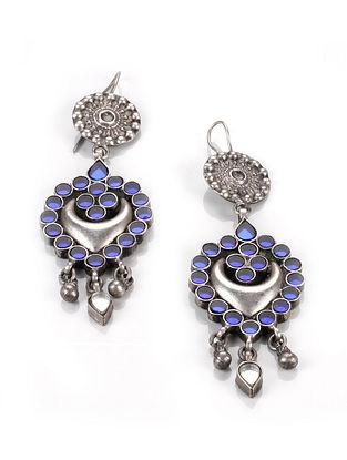Blue Tribal Silver Glass Earrings
