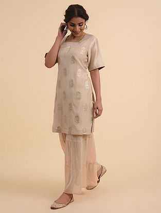 Beige Embroidered Chanderi Short Kurta with Cotton Lining