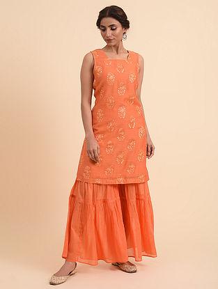 Tangerine Embroidered Chanderi Kurta with Cotton Lining