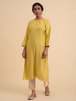 Mustard Embroidered Chanderi Kurta with Cotton Lining