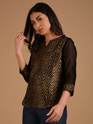 Black and Gold Block Printed Chanderi Shirt