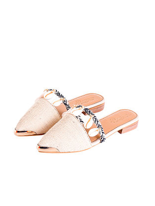 Cream Handcrafted Faux Leather Mules