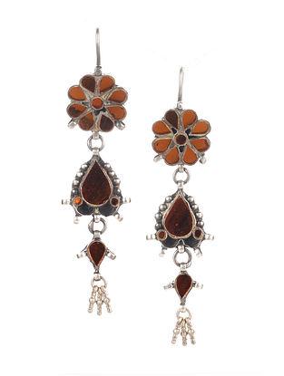 Orange Tribal Silver Glass Earrings
