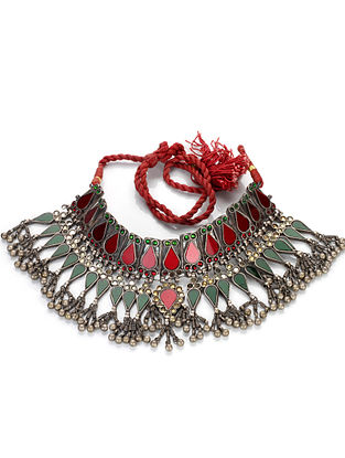 Red Pink Tribal Silver Glass Necklace