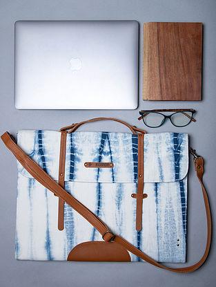 White Blue Handcrafted Canvas Cotton Laptop Bag