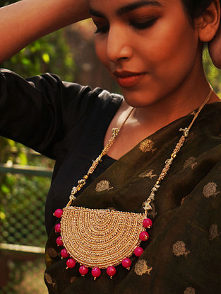 Pink Gold Tone Handcrafted Fabric Necklace