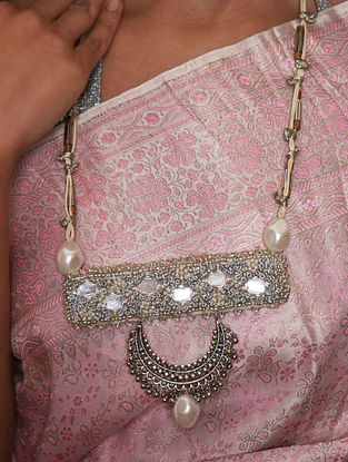Cream Silver Tone Handcrafted Fabric Necklace