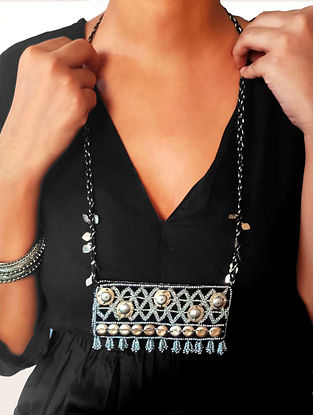 Black Silver Tone Handcrafted Fabric Necklace With Tassels