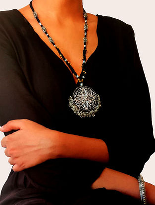 Black Silver Tone Handcrafted Fabric Necklace