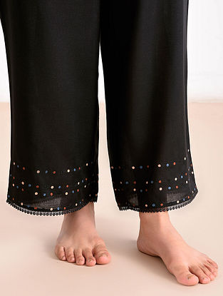 Black Modal Embroidered Pants