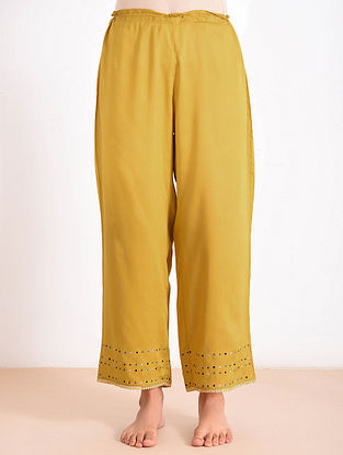 Mustard Modal Embroidered Pants
