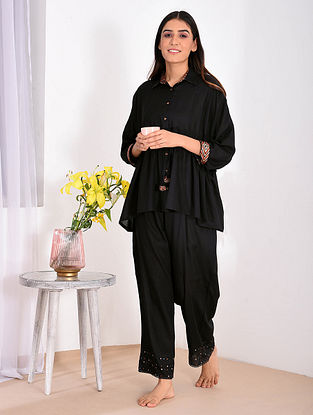 Black Modal Top and Pants with Ajrakh Trims (Set of 2)