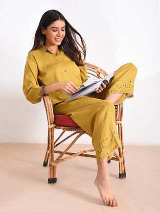 Mustard Modal Top and Pants with Ajrakh Trims (Set of 2)