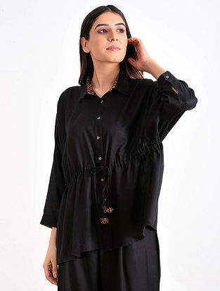 Black Modal Ajrakh Top